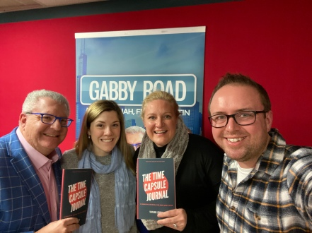 Taylor with Fred (left), Hannah (middle), and Justin (right) on Gabby Road Radio.