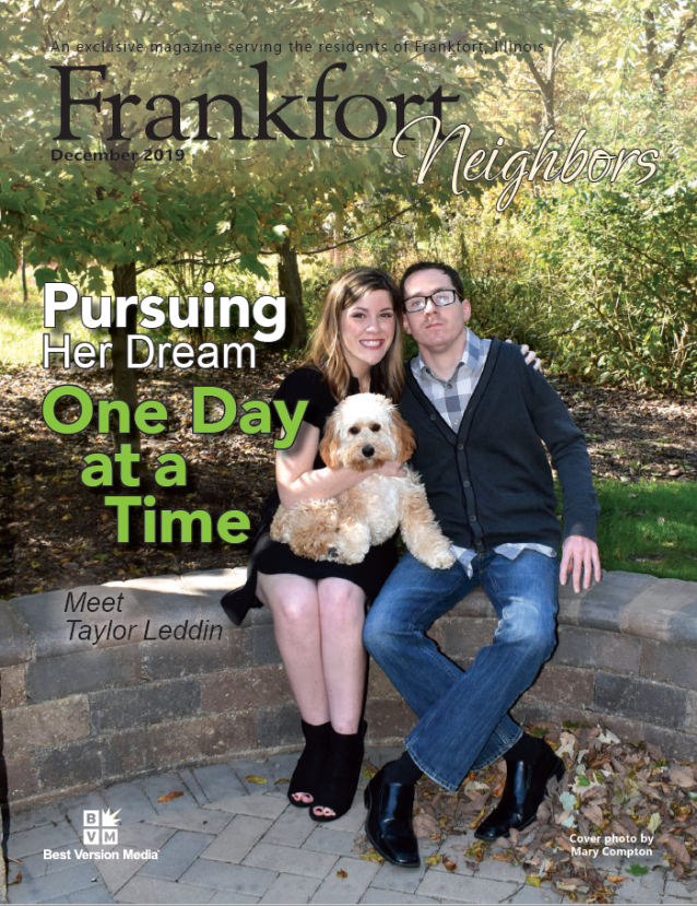 Taylor on the December 2019 cover of Frankfort Neighbors Magazine.